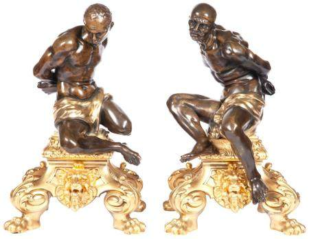 Pair of Louis XIV Style Gilt- and Patinated-Bronze Chenets