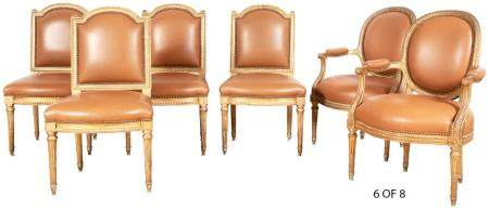 Assembled Set of Eight Louis XVI Style Giltwood and Leather-
