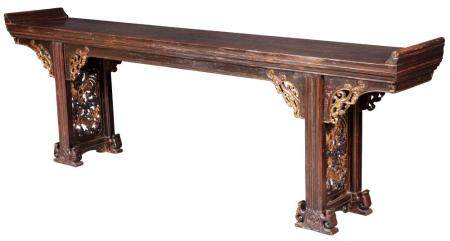 Chinese Elmwood and Parcel-Gilt Altar Table