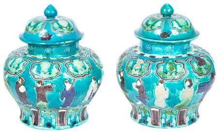 Pair of Samson Glazed Pottery Covered Jars