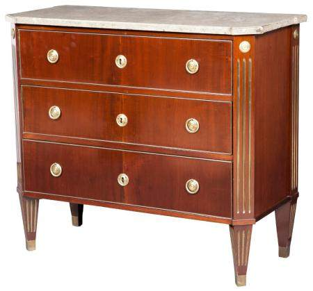 Russian Mahogany and Brass-Inlaid Chest of Drawers The grey