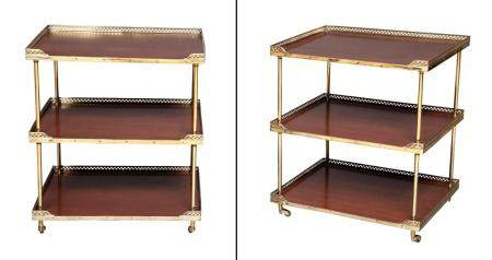 Pair of Neoclassical Style Mahogany and Brass Three-Tier Éta