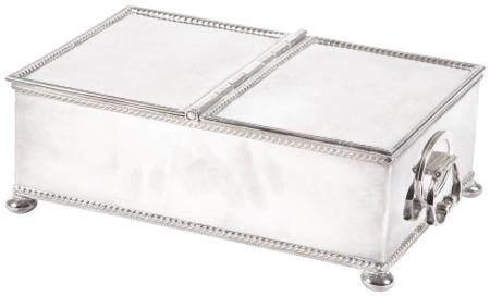 English Silver Plated Double Cigarette Box