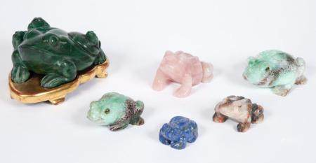 Group of Six Various Hardstone Toads