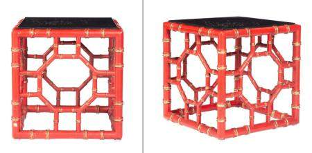 Pair of Coral-Painted and Parcel-Gilt Faux Bamboo Cube Low T