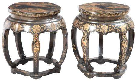 Pair of Chinese Lacquer Barrel-Form Stools