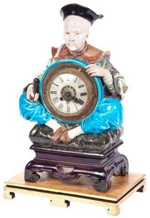 French Faience Figural Clock by Jules Vieillard & Cie, Borde
