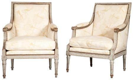 Assembled Pair of Louis XVI Grey-Painted Bergeres