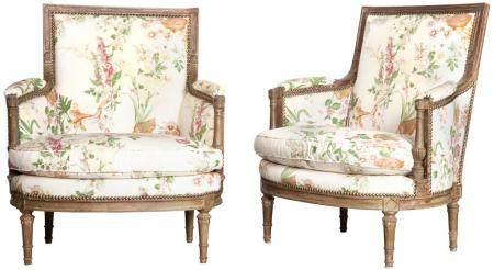 Pair of Louis XVI Style Bergeres Each padded back, arms and