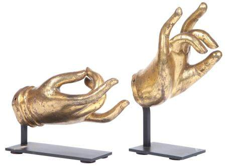 Two Southeast Asian Gilt Patinated Metal 'Hands of Buddha' L