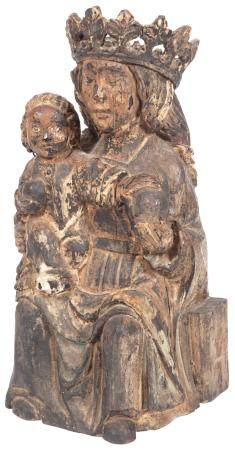 Continental Carved Wood Group of the Virgin and Child Possib