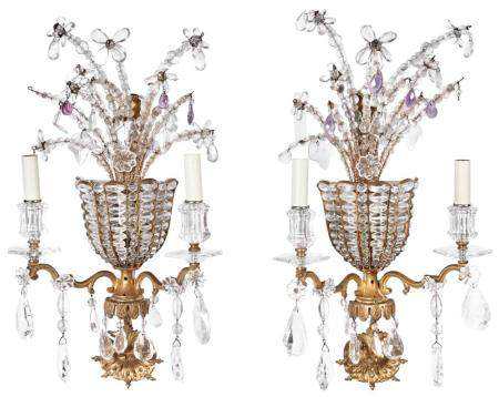 Pair of Louis XIV Style Gilt-Metal and Glass Two-Light Sconc