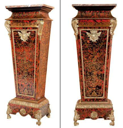 Pair of Louis XIV Style Tortoiseshell, Brass-Inlaid 'Boulle'