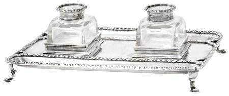 Victorian George III Style Sterling Silver Inkstand