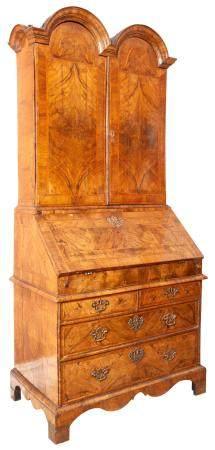 George II Inlaid Walnut Longcase Clock The dial with female
