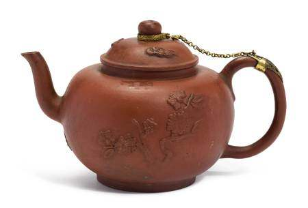 TEA POT IN THE YIXING STYLE  - Holland, Delft, ca. 1678-1724, model by Ary de Milde.  [...]