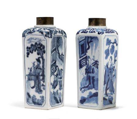 PORCELAIN TEA CADDY AND ITS CHINESE MODEL  - Vienna and China, ca. 1744 and 1700.  - [...]