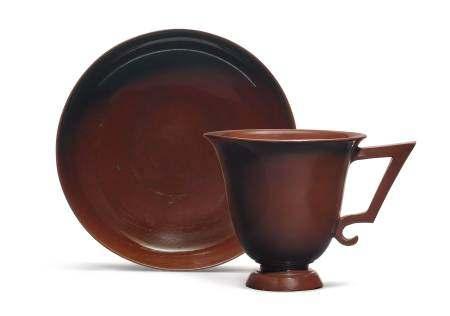 """BÖTTGER"" STONEWARE CUP AND SAUCER  - Meissen, ca. 1710-13. Model by Johann Jacob [...]"