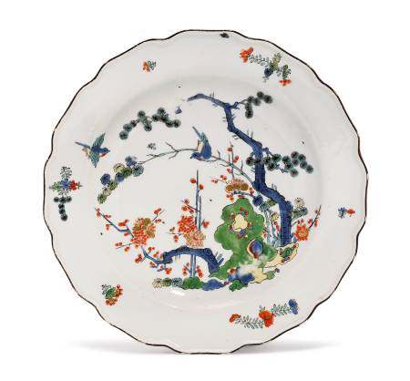 """PLATE """"THREE FRIENDS IN THE WINTER""""  - Meissen, ca. 1740.  - Painted with a pine [...]"""