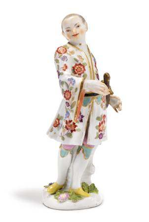 ASIAN WITH A CURVED DAGGER  - Meissen, middle of the 18th century.  - Underglaze blue [...]