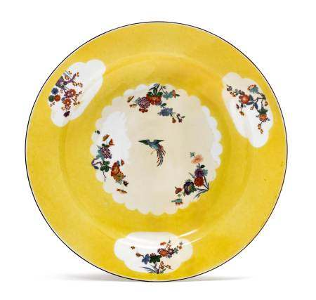 """BOWL FROM THE """"YELLOW HUNTING SERVICE""""  - Meissen, ca. 1730.  - Yellow ground with a [...]"""