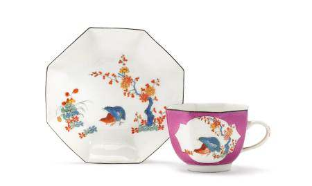 CUP AND SAUCER WITH QUAIL DECORATION  - Meissen, ca. 1730.  - Octagonal shape, cup [...]