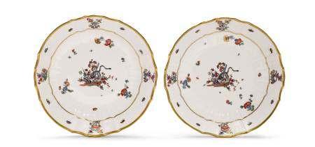 """TWO PLATES WITH """"YELLOW LION"""" PATTERN  - Meissen, ca. 1740-50.  - """"Neubrandenstein"""" [...]"""
