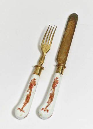 A knife and fork - Meissen, 18th century