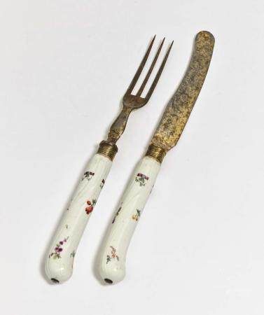 A knife and fork - Meissen, 3rd quarter of the 18th century