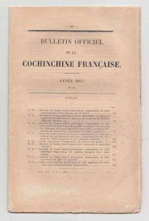 1863 Un ensemble de 18 bulletins officiels de la Cochinchine Française concernant [...]