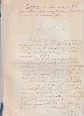 1867 Copie d'une lettre adressée par M. Le Procureur Impérial, chef du service [...]