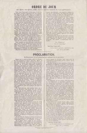 1867 Ordre du jour au corps expéditionnaire et Proclamation du Gouverneur de la [...]