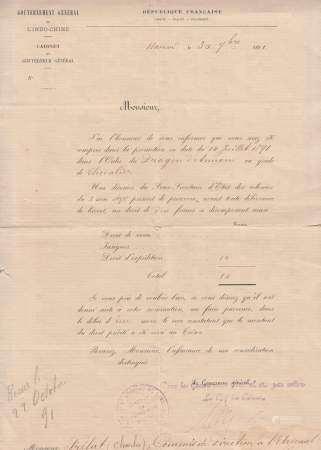 1891-1898 Décorations officielles. Un ensemble de quatre courriers à en-tête du [...]