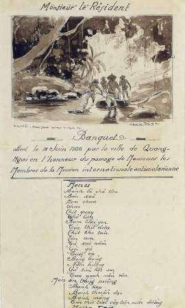 Henri MEGE (1904-1984). Menu de Monsieur le Résident pour le banquet offert le 18 [...]