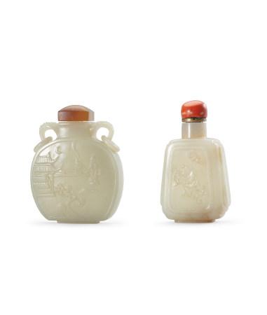 清 白玉樓閣人物圖鼻煙壺 、白玉太平豐樂鼻煙壺(乾隆年製款) 二件一組
