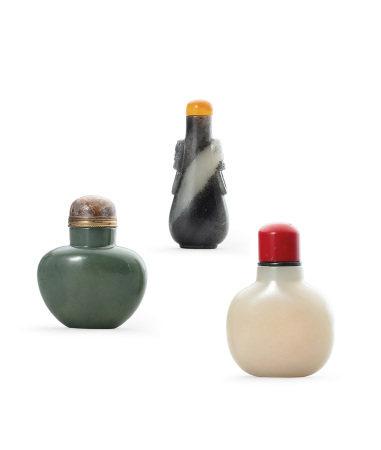 三色玉鼻煙壺 三件一組