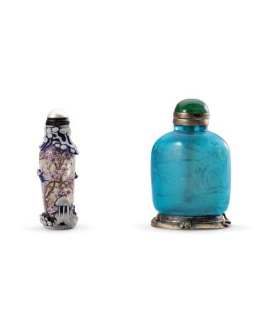 清 料胎琺瑯彩梅花鼻煙壺(乾隆年製款)、藍料胎山水內繪鼻煙壺 二件一組