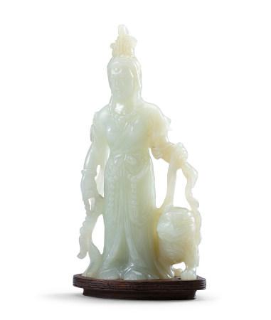 白玉文殊菩薩立像