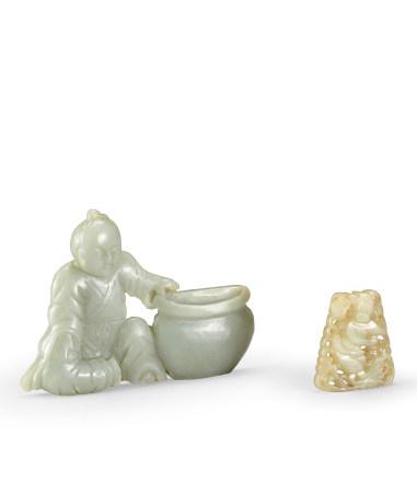 清 青白玉高仕嵌飾、青白玉鏤雕魁星踢斗嵌飾 二件一組