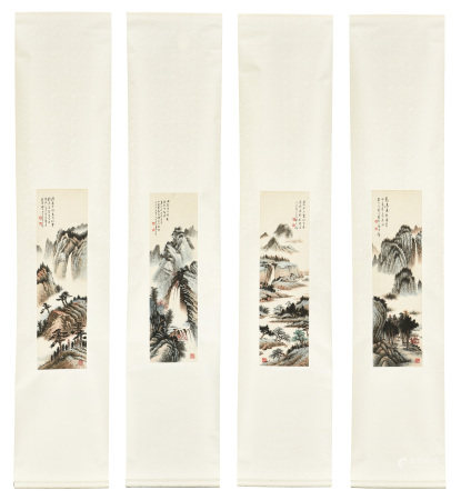 HUANG JUNBI: SET OF FOUR INK AND COLOR ON PAPER PAINTING 'MOUNTAIN SCENERY'