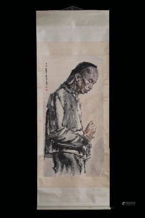 JIANG ZHAOHE: INK AND COLOR ON PAPER PAINTING 'PORTRAIT'