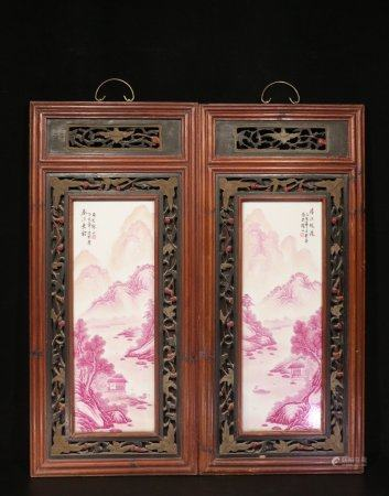 WANG YETING: PAIR OF PORCELAIN 'LANDSCAPE SCENERY' HANGING PLAQUES