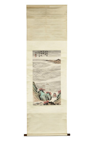 QIN ZHONGWEN: INK AND COLOR ON PAPER PAINTING 'LANDSCAPE SCENERY'