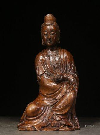 BAMBOO CARVED 'GUANYIN' SEATED FIGURE