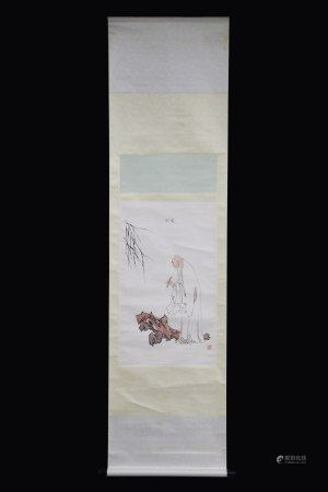 FAN ZENG: INK AND COLOR ON PAPER PAINTING 'ELDER'