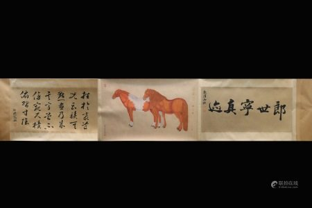 LANG SHINING: INK AND COLOR ON PAPER HAND SCROLL 'HORSE'