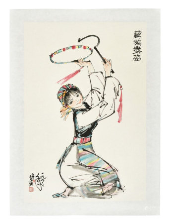 LIN YONG: INK AND COLOR ON PAPER PAINTING 'DANCER'