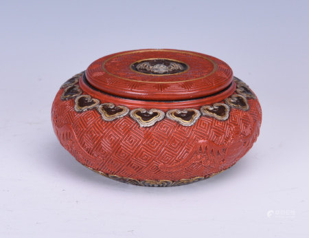 CINNABAR LACQUER-LIKE GLAZED ROUND BOX WITH COVER