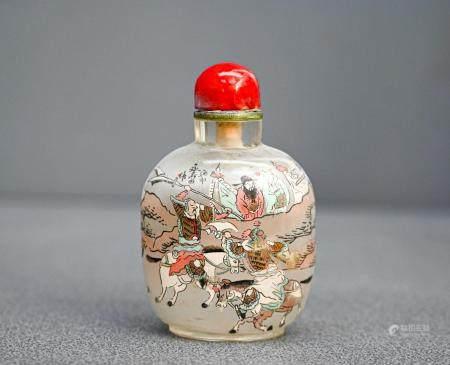 CHINEImportante tabatière en verre à décor de scènes guerrièresXxe