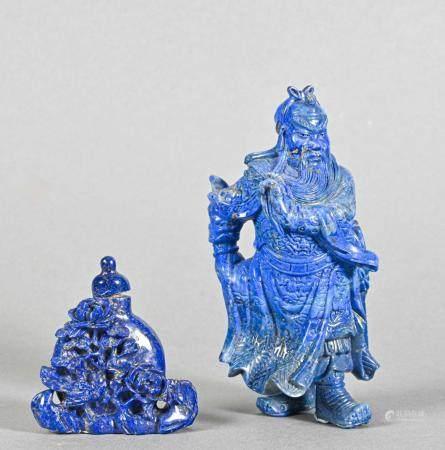 CHINE Ensemble en lapis lazuli _x000B_comprenant : une statuette de Zhong Kui debout se touchan